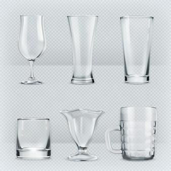 Set of transparent glasses goblets,