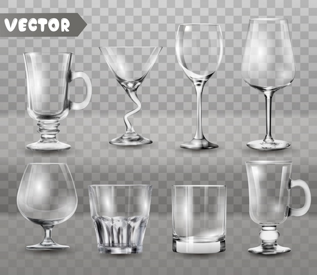 Set of transparent glasses goblets.