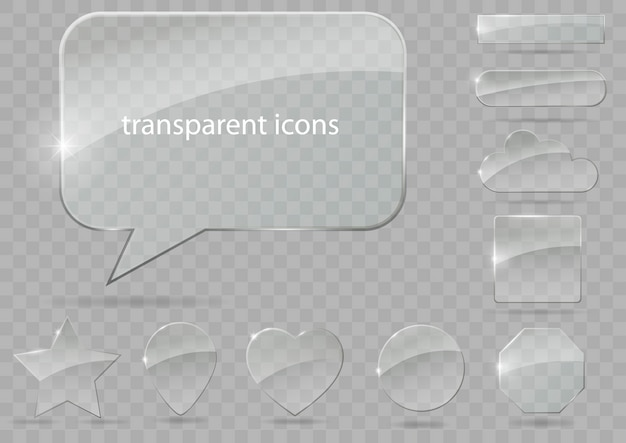 Set of transparent icons
