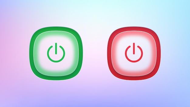 Set of transparent on and off power buttons
