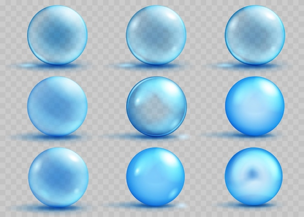 Set of transparent and opaque light blue spheres with shadows and glares on transparent background