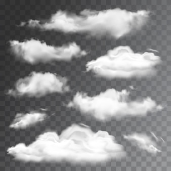 Set of transparent realistic clouds. illustration
