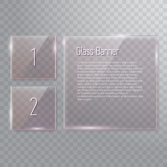 Set of transparent reflecting square glass banners