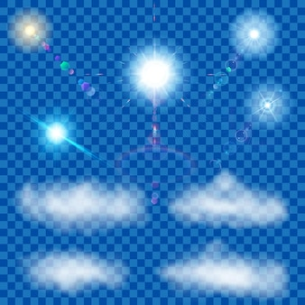 Set of transparent suns with lens flare and clouds