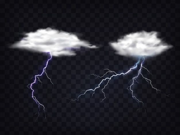 Set of transparent white clouds with lightning charge.