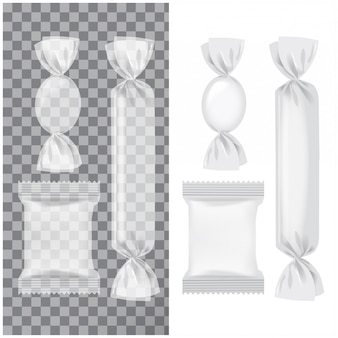 Set of transparent and white foil pack for candies and other products, food snack pack