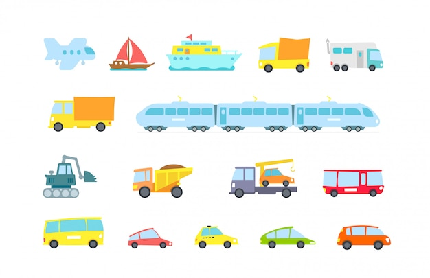 Set of transport. variety machines, methods cargo and passengers.