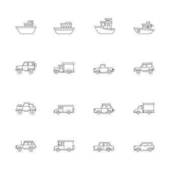 Set of transportation icons in line style
