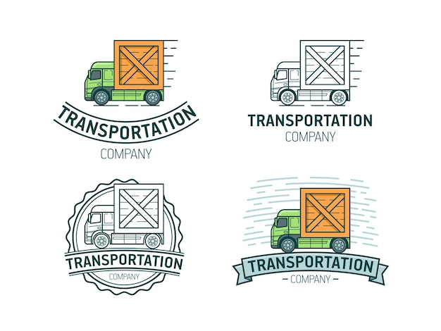 Set of transportation logo template. transport logotype with lorry.