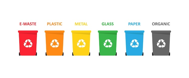 A set of trash bins for electronic, plastic, metal, glass, paper and organic waste. vector eps 10