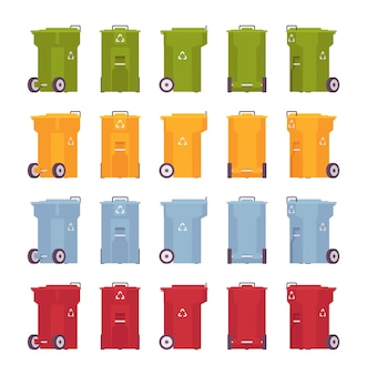 Set of trash bins on wheels, different colors and positions