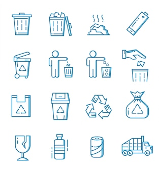 Set of trash icons with outline style