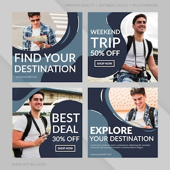 Set of travel banner template