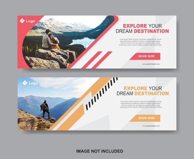 Set of travel banner