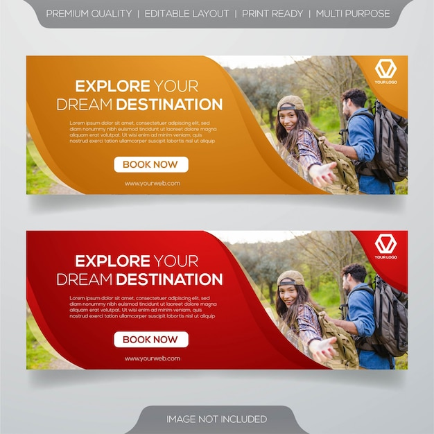 Set of travel banner
