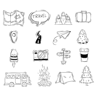 Set of travel cute icons with black and white doodle style