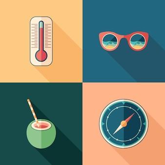 Set of travel flat square icons