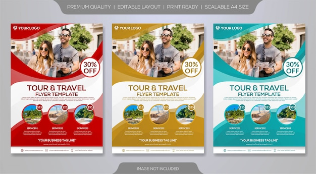 Set of travel flyer