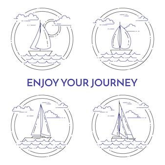 Set of travel horizontal banners with sailboat