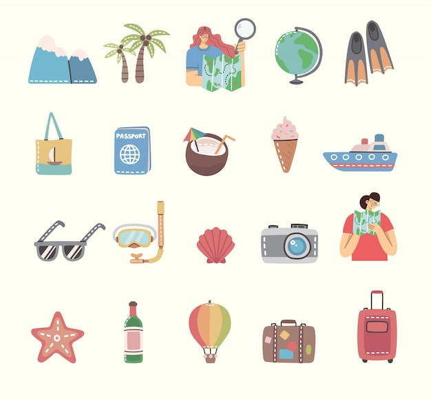 Set of travel icons and related symbols. flat illustrations