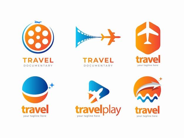 Set travel logo design concept