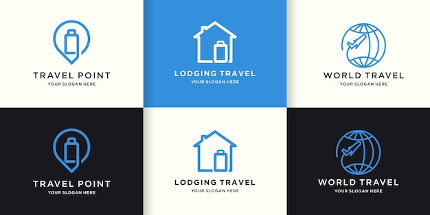 Set of travel logo designs with simple lines