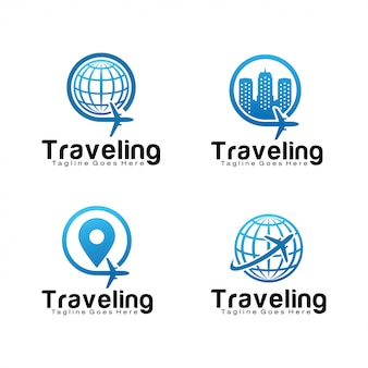 Set of travel logo template