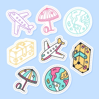 Set of travel stickers handwritten collection in cartoon style.