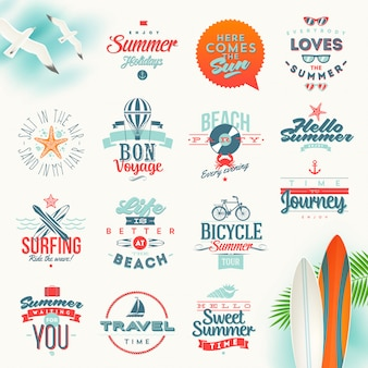 Set of travel and summer vacation typography . lettering emblems and logo Premium Vector