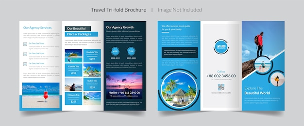 Set of travel trifold brochure