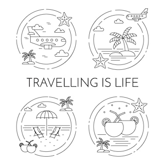 Set of traveling horizontal banners with palm on island, airplane, cocktails, beach in circles.