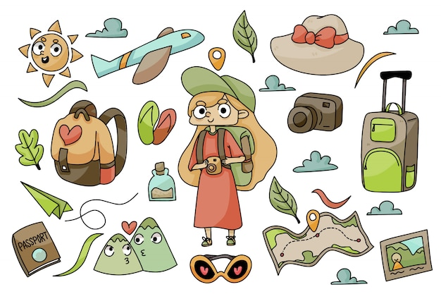Set of traveling icons and adventurer girl doodle