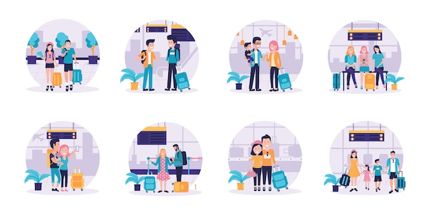 Set of travelling couples and families with their kids holding luggage