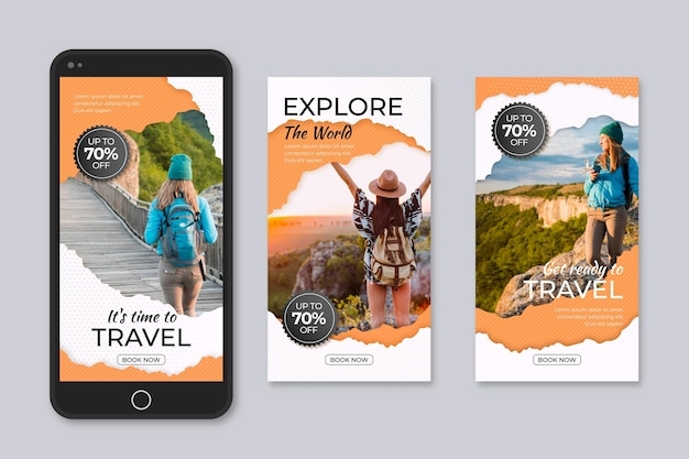 Set of travelling sales social media stories