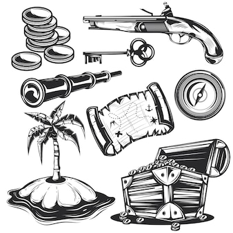 Set of treasure elements for creating your own badges, logos, labels, posters etc