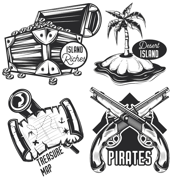 Set of treasure emblems, labels, badges, logos.
