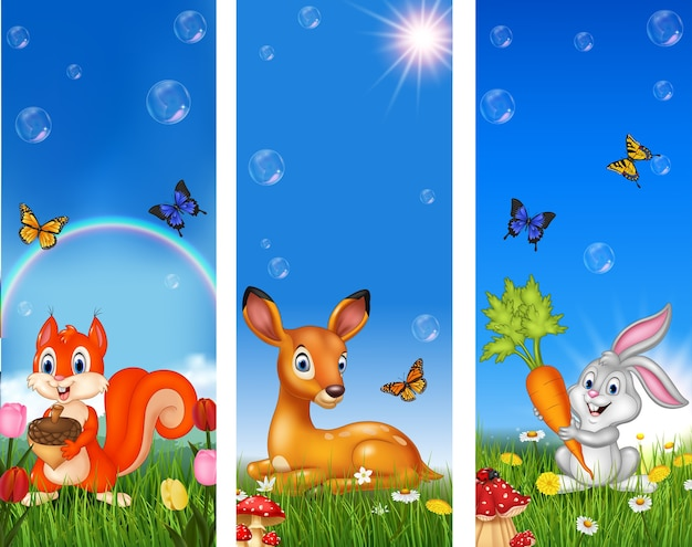 Set of tree funny animal with nature background