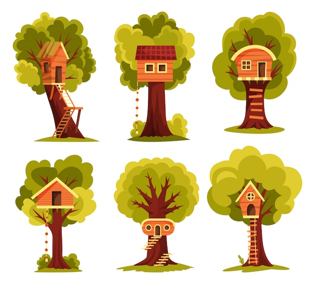 Set  tree house. children playground with swing and ladder. flat style  illustration. tree house for playing and parties. house on tree for kids. wooden town, rope park between green foliage