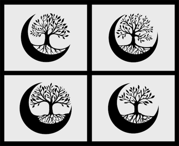 Set of the tree of life crescent moon decoration element