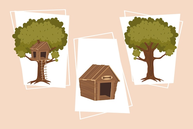 Set of tree plants and dog house icons