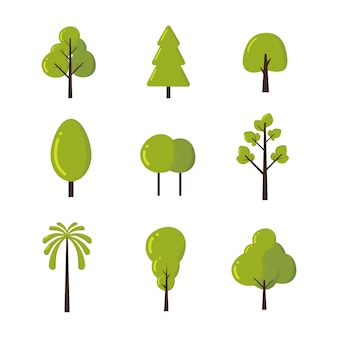 Set of tree in various kind vector illustration