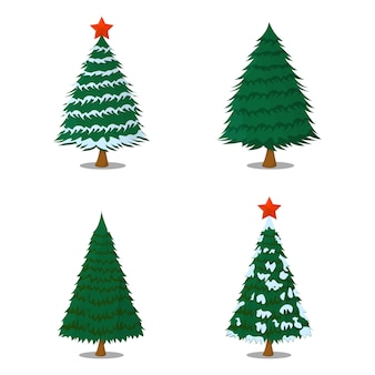 Set of tree xmas isolated icon. cartoon style. vector illustration for christmas day