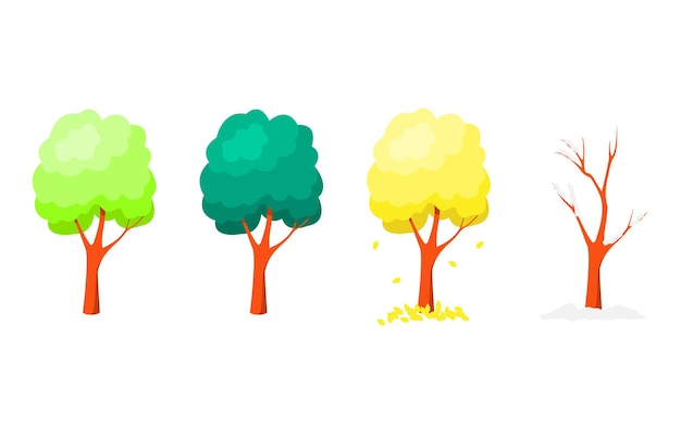 Set of trees at different times of the year on a white background. flat vector cartoon illustration.