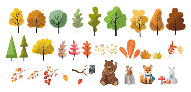 Set of trees, flowers, and animals, paper art style