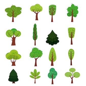 Set of trees forest green color stylized cute style, various shapes.