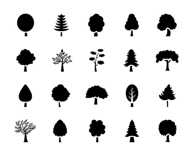 Set of trees glyph icons
