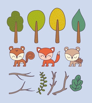 Set of trees plants with animals and branches