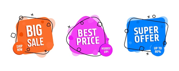 Set of trendy abstract banners. flash sale poster and banner.