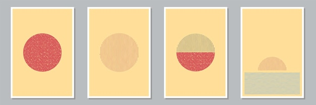 Set of trendy abstract creative minimal artistic hand painted compositions for wall decoration, postcard or brochure cover design. vector illustration.