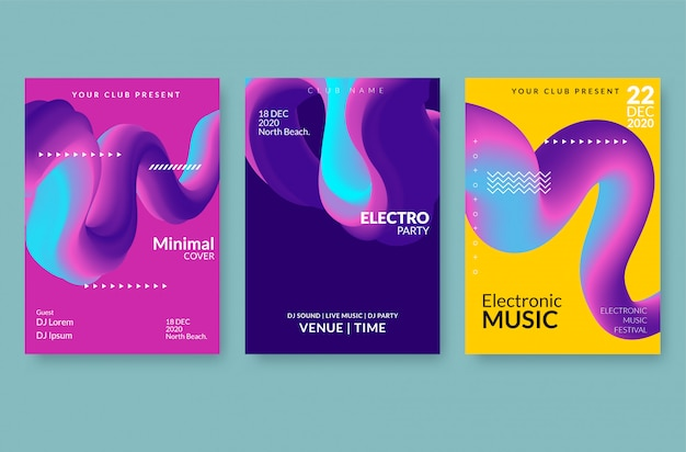 Set of trendy abstract poster templates with 3d flow shapes.